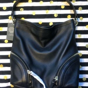 NWT Vince Camuto Black Leather Jeri Hobo Purse